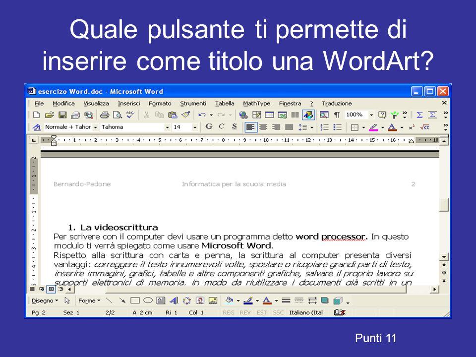 Quale pulsante ti permette di inserire come titolo una WordArt