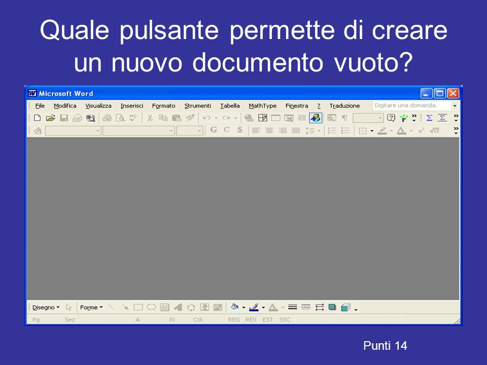 Quale pulsante permette di creare un nuovo documento vuoto