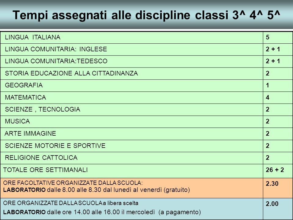 Tempi assegnati alle discipline classi 3^ 4^ 5^