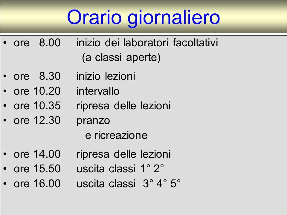 Orario giornaliero ore 8.00 inizio dei laboratori facoltativi