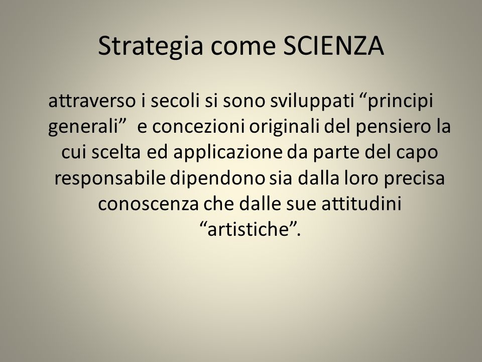 Strategia come SCIENZA