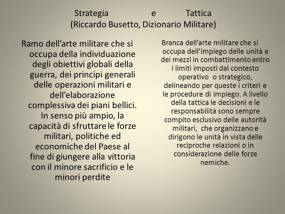 Strategia e Tattica (Riccardo Busetto, Dizionario Militare)