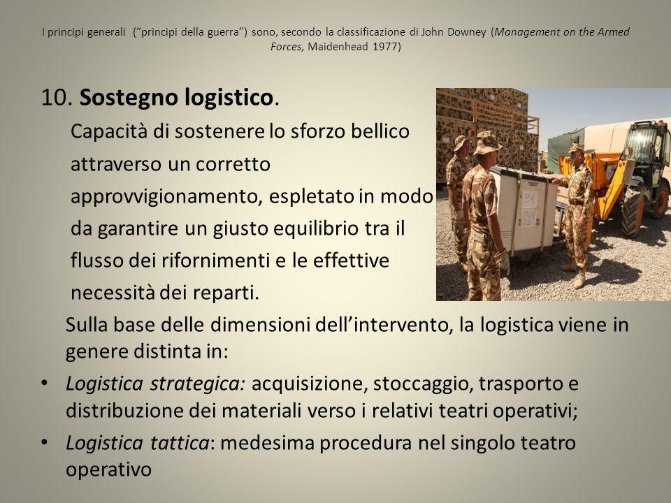 10. Sostegno logistico. Capacità di sostenere lo sforzo bellico