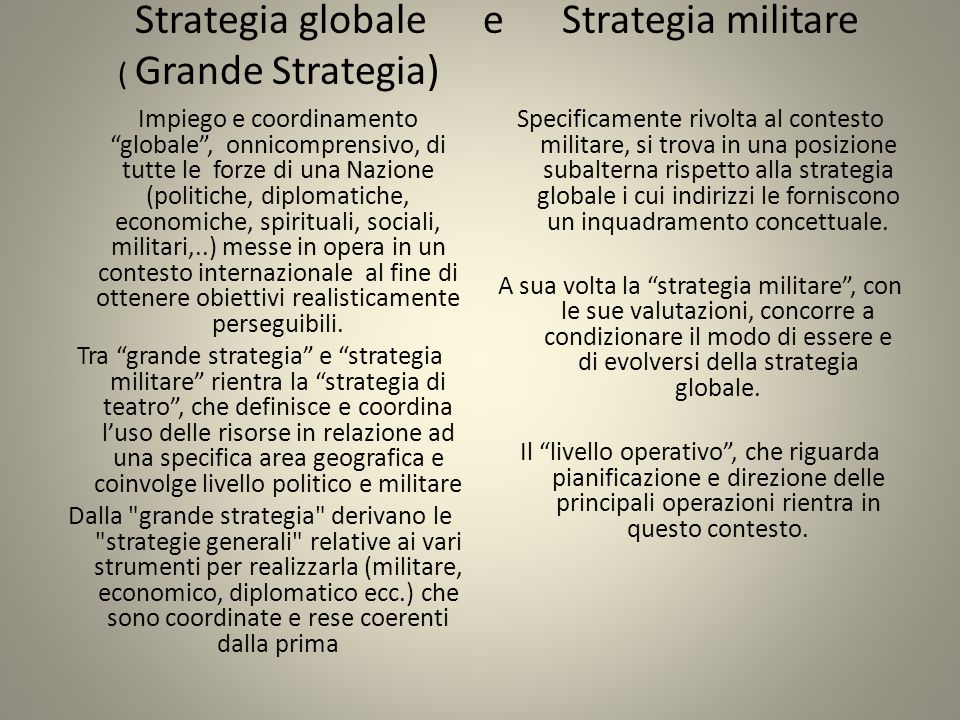 Strategia globale e Strategia militare ( Grande Strategia)