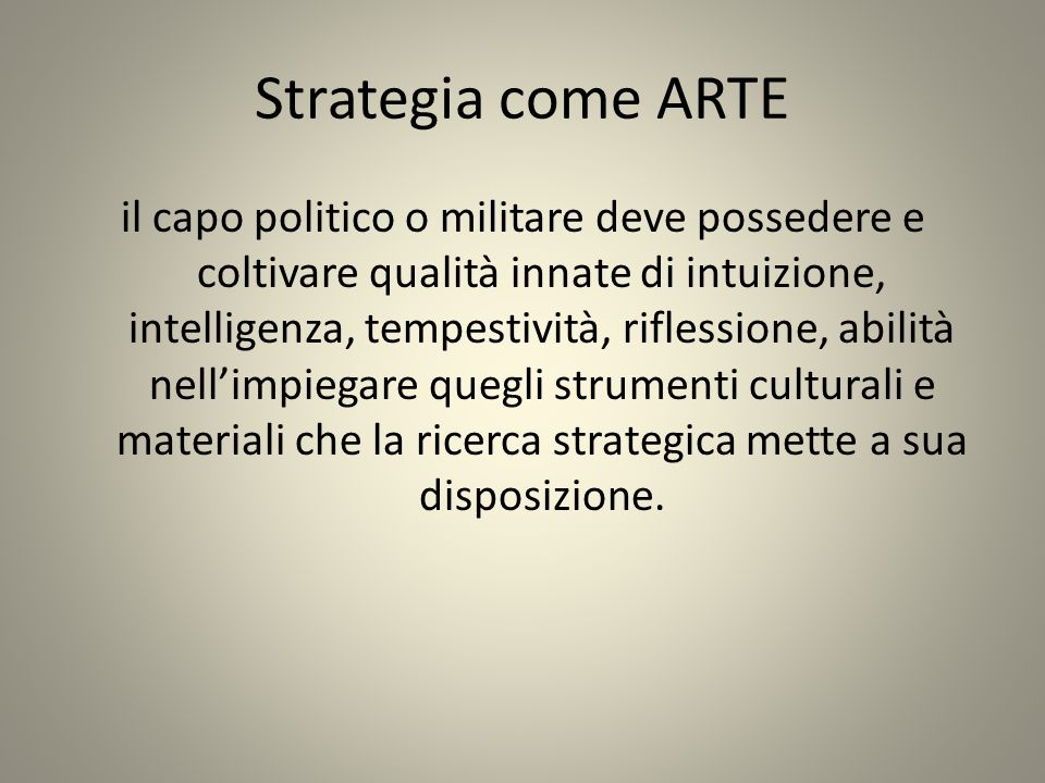 Strategia come ARTE