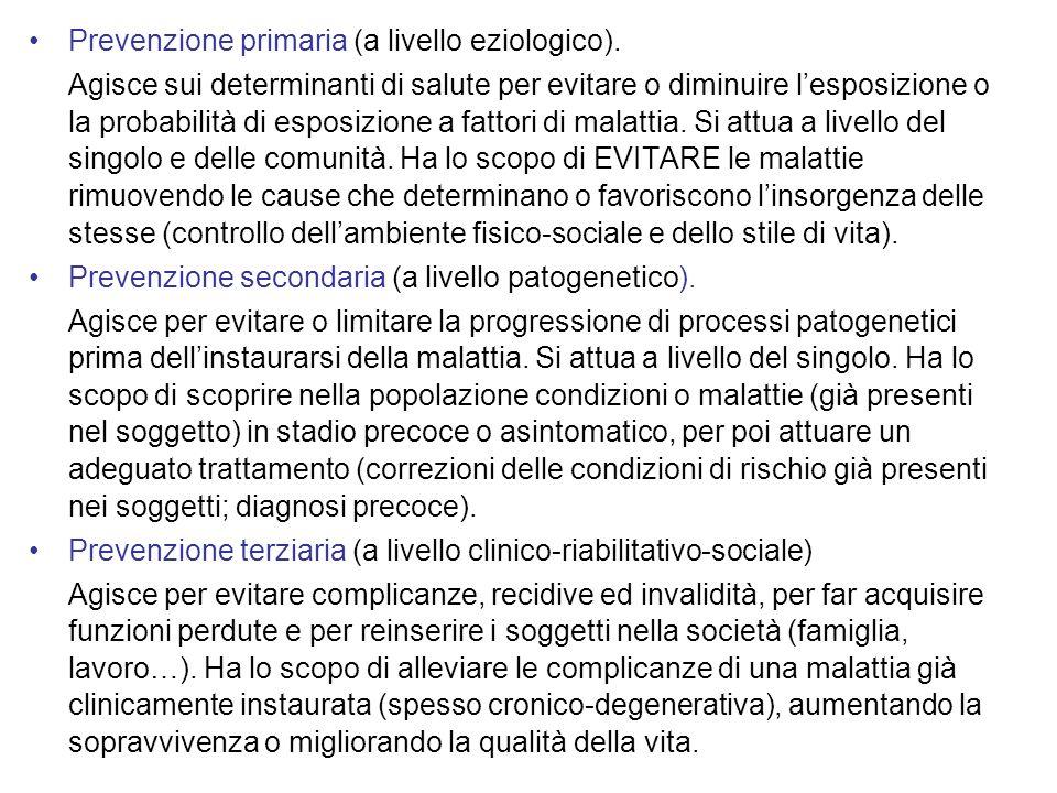Prevenzione primaria (a livello eziologico).