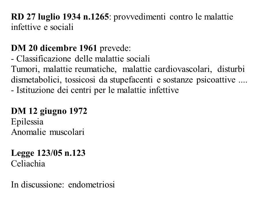 - Classificazione delle malattie sociali