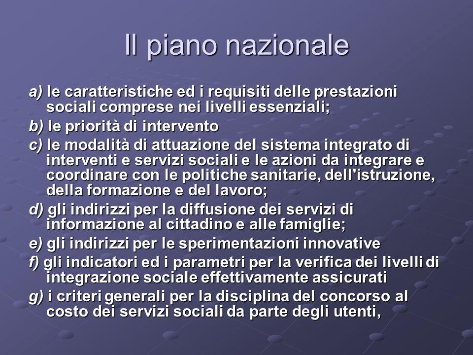 Il piano nazionale a) le caratteristiche ed i requisiti delle prestazioni sociali comprese nei livelli essenziali;