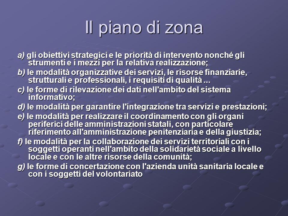 Il piano di zona a) gli obiettivi strategici e le priorità di intervento nonché gli strumenti e i mezzi per la relativa realizzazione;
