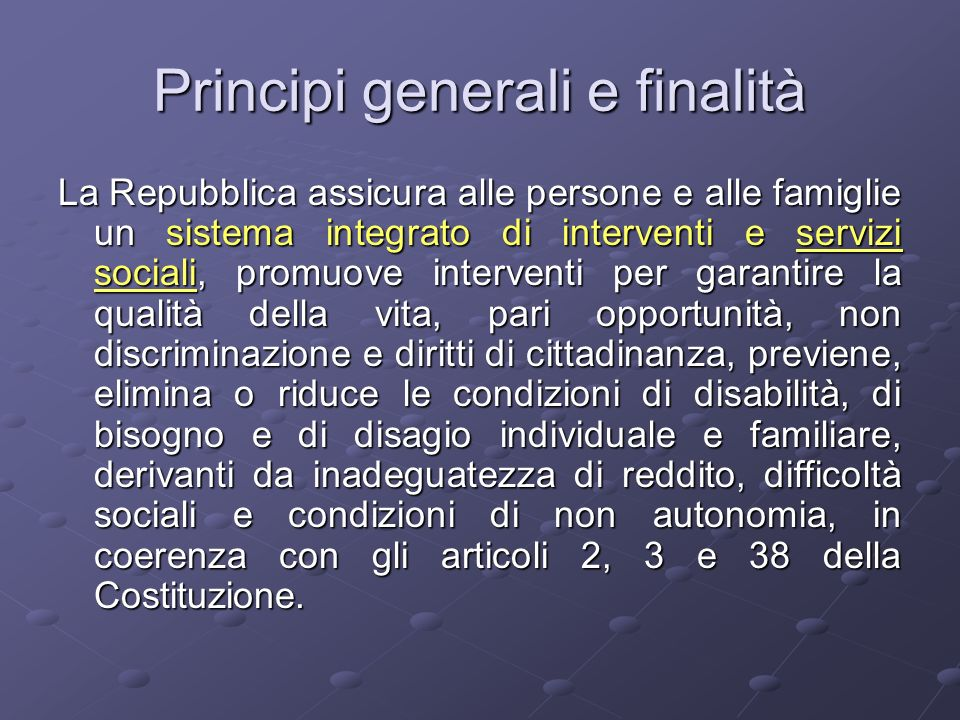 Principi generali e finalità
