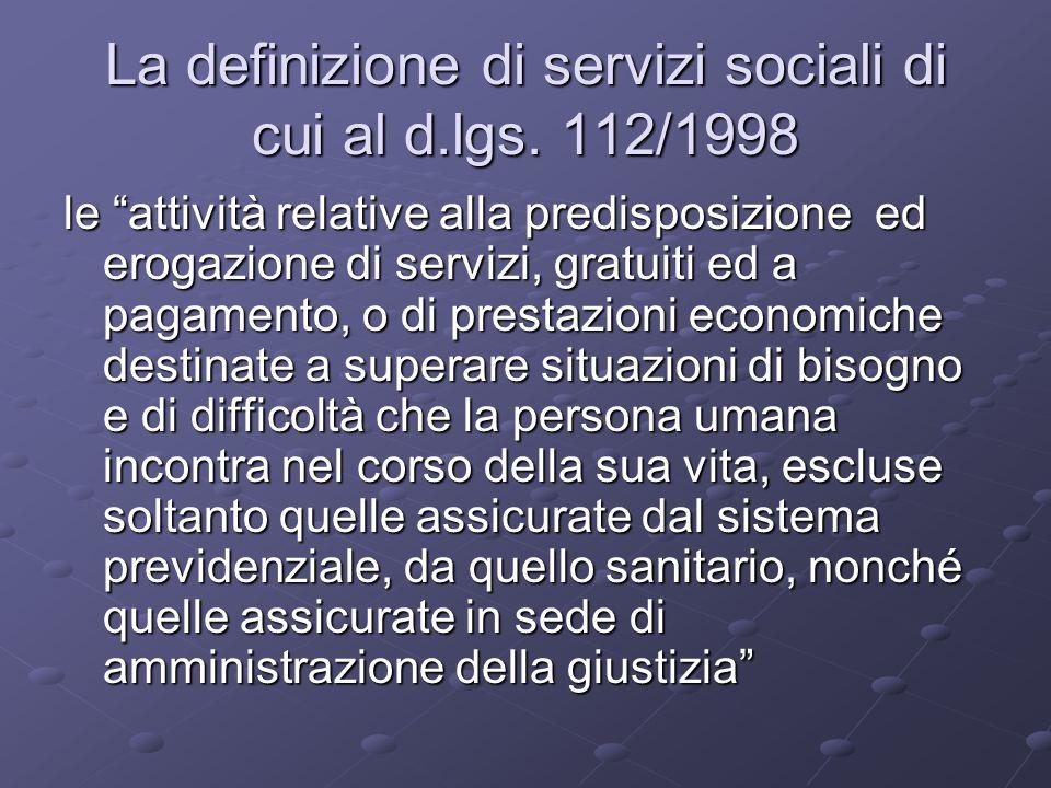 La definizione di servizi sociali di cui al d.lgs. 112/1998
