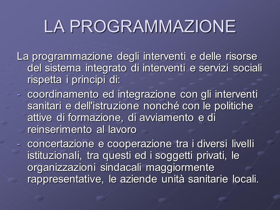 LA PROGRAMMAZIONE La programmazione degli interventi e delle risorse del sistema integrato di interventi e servizi sociali rispetta i principi di: