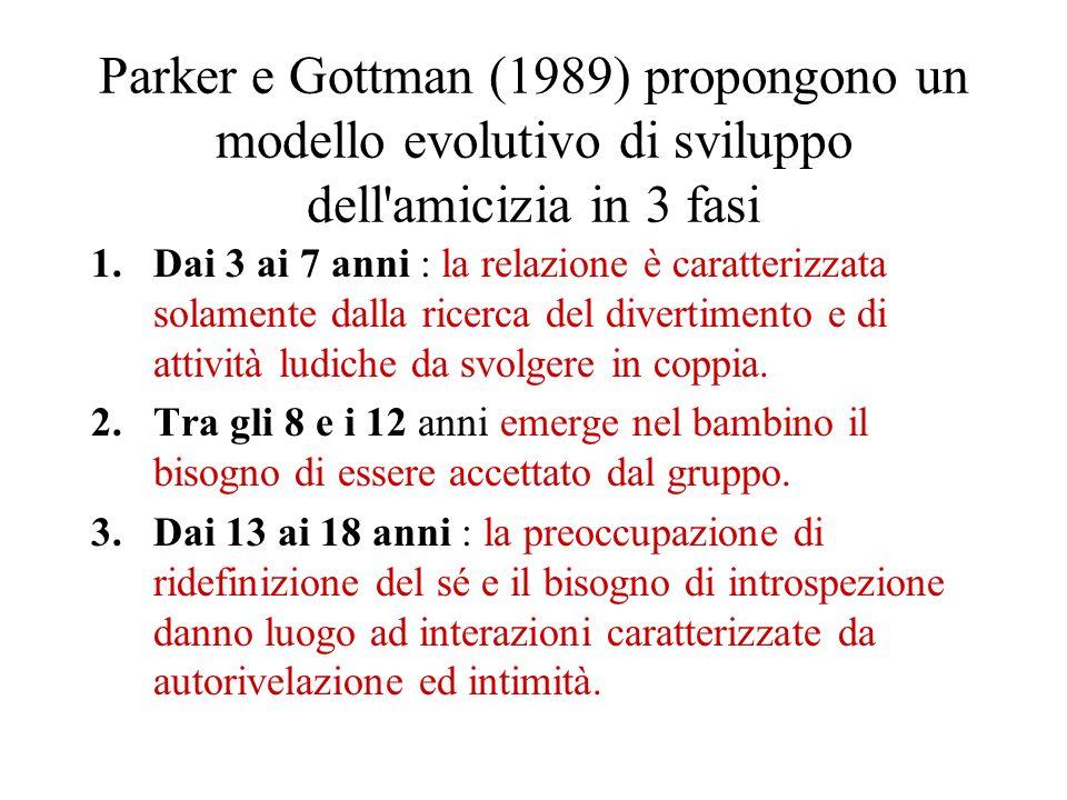 Parker e Gottman (1989) propongono un modello evolutivo di sviluppo dell amicizia in 3 fasi