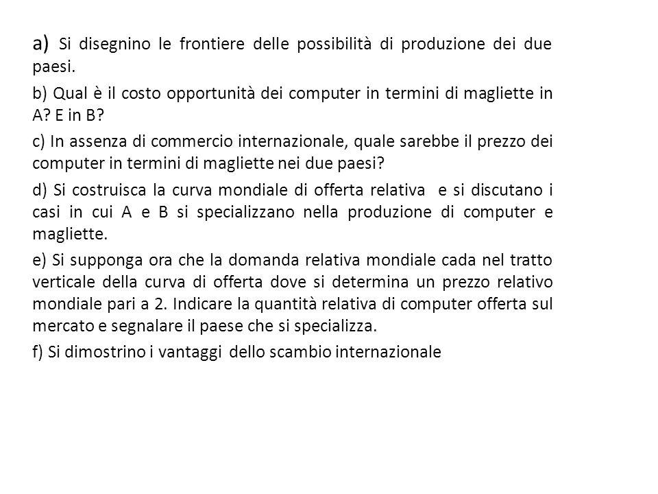 a) Si disegnino le frontiere delle possibilità di produzione dei due paesi.