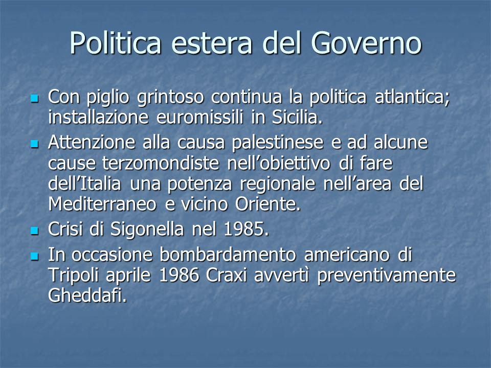 Politica estera del Governo