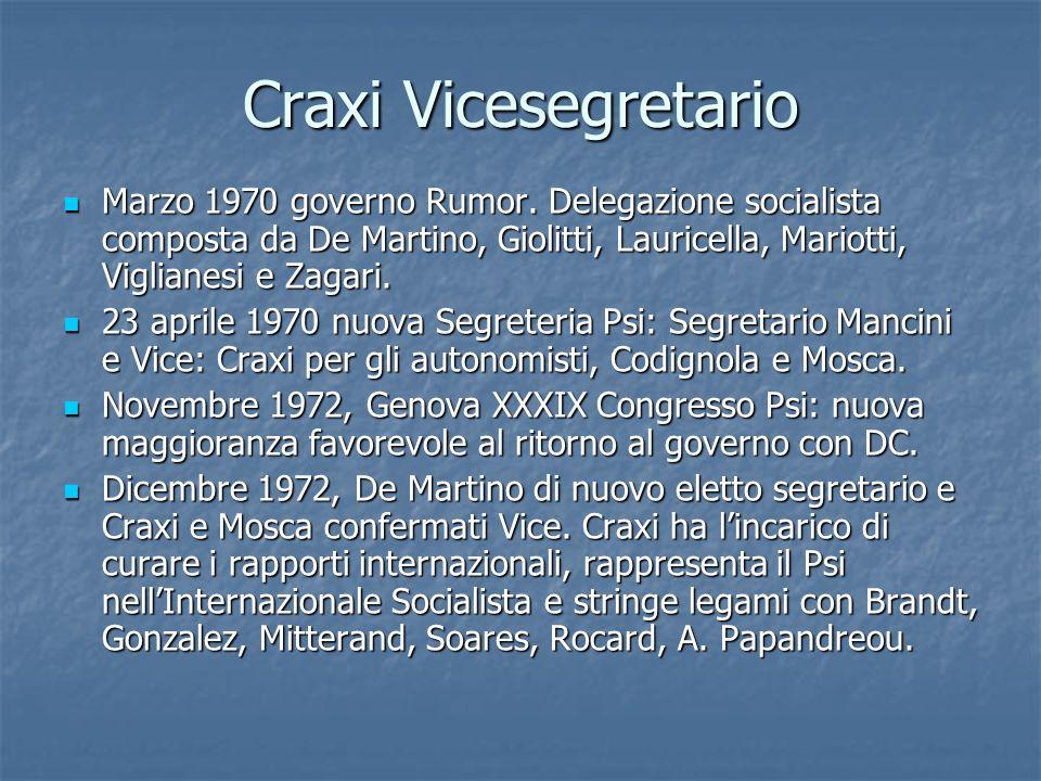 Craxi Vicesegretario Marzo 1970 governo Rumor. Delegazione socialista composta da De Martino, Giolitti, Lauricella, Mariotti, Viglianesi e Zagari.