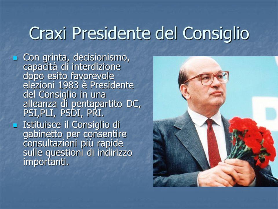 Craxi Presidente del Consiglio