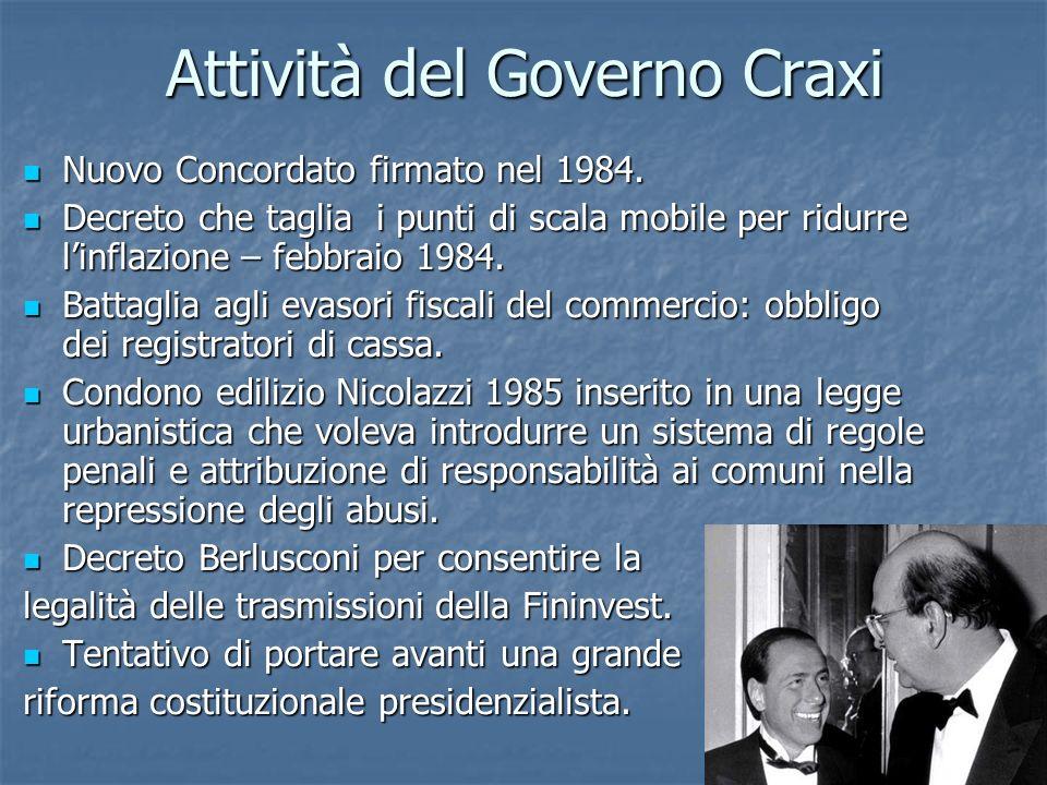 Attività del Governo Craxi
