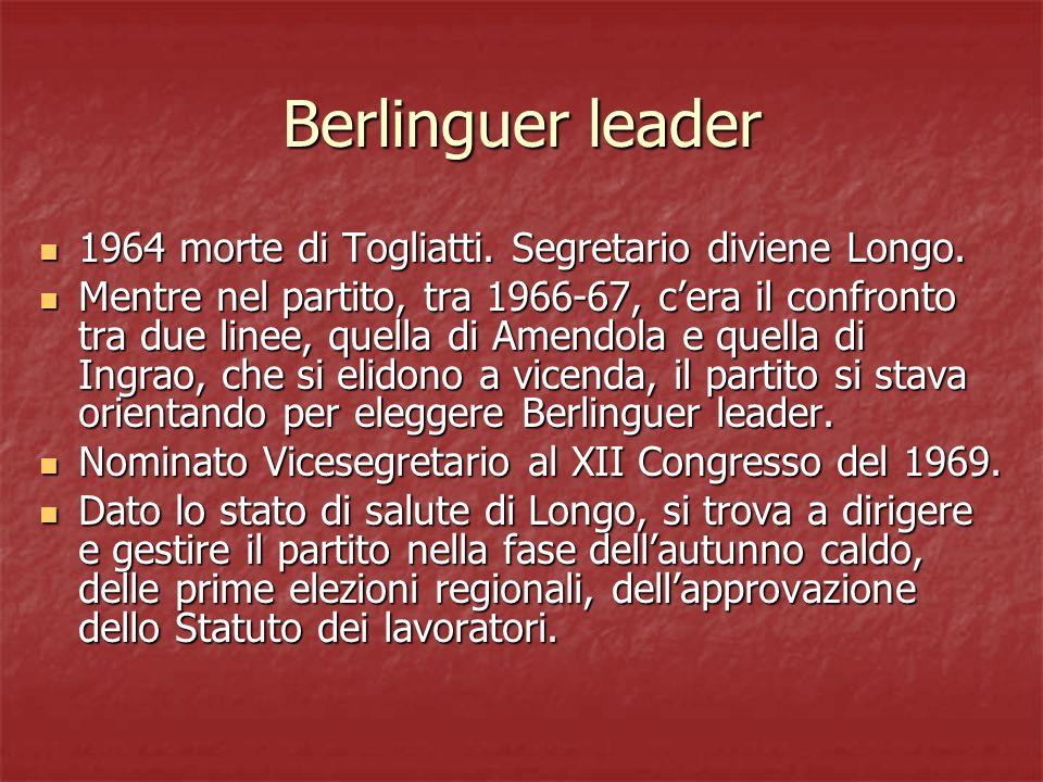 Berlinguer leader 1964 morte di Togliatti. Segretario diviene Longo.