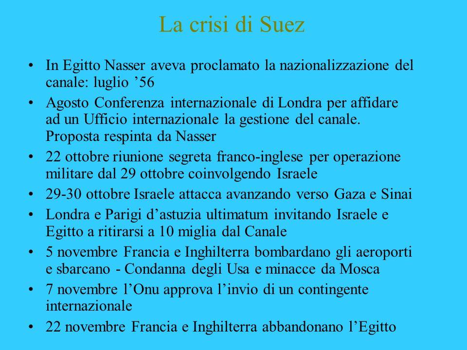 La crisi di Suez In Egitto Nasser aveva proclamato la nazionalizzazione del canale: luglio '56.