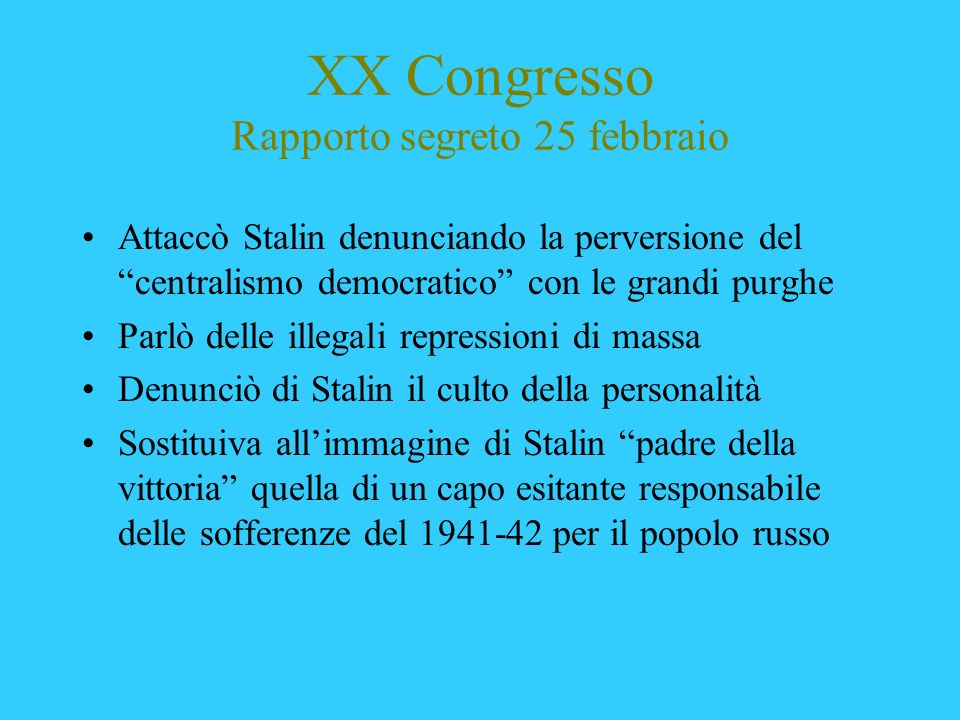 XX Congresso Rapporto segreto 25 febbraio