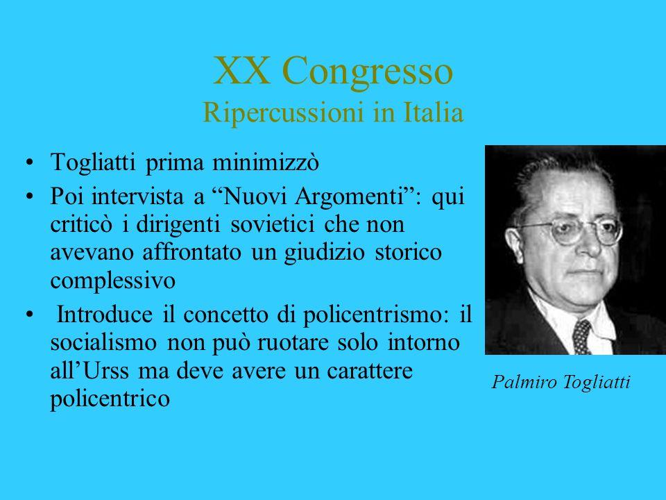 XX Congresso Ripercussioni in Italia