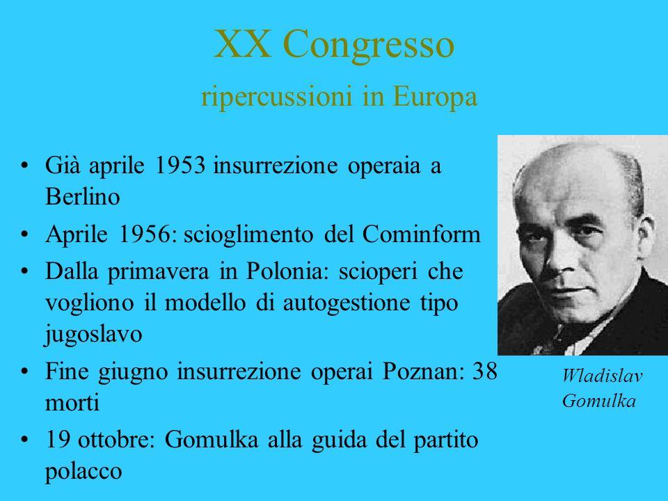 XX Congresso ripercussioni in Europa