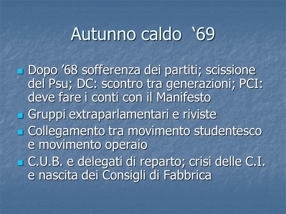 Autunno caldo '69Dopo '68 sofferenza dei partiti; scissione del Psu; DC: scontro tra generazioni; PCI: deve fare i conti con il Manifesto.