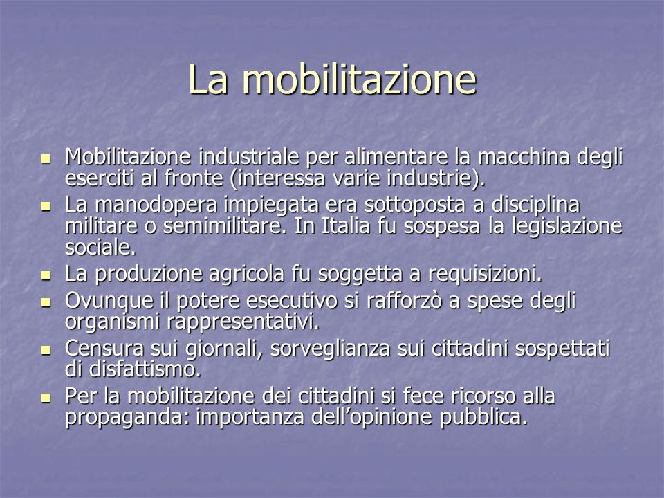 La mobilitazioneMobilitazione industriale per alimentare la macchina degli eserciti al fronte (interessa varie industrie).