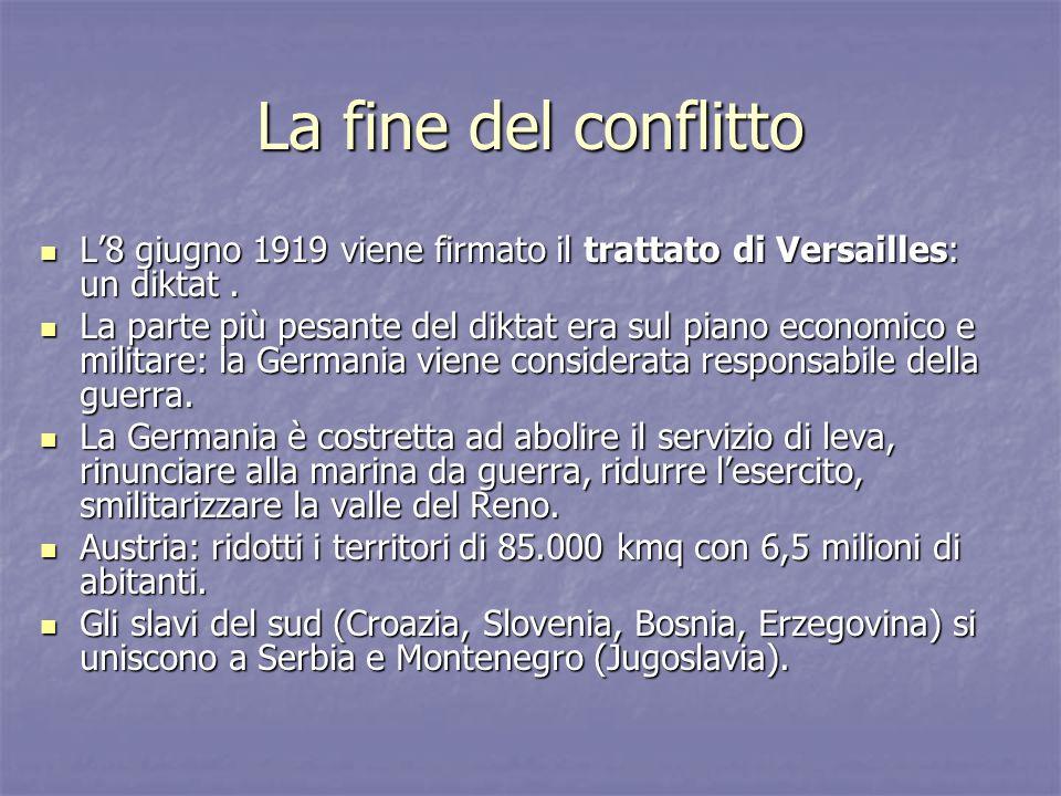 La fine del conflitto L'8 giugno 1919 viene firmato il trattato di Versailles: un diktat .