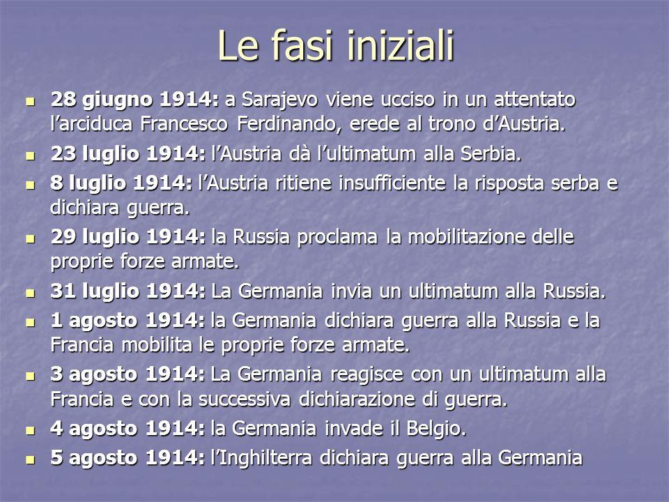 Le fasi iniziali 28 giugno 1914: a Sarajevo viene ucciso in un attentato l'arciduca Francesco Ferdinando, erede al trono d'Austria.