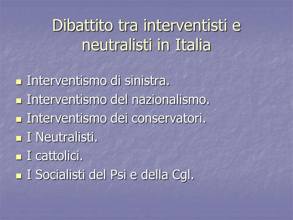 Dibattito tra interventisti e neutralisti in Italia