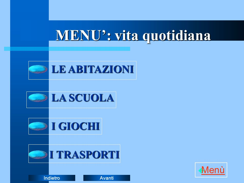 MENU': vita quotidiana