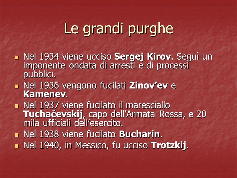 Le grandi purghe Nel 1934 viene ucciso Sergej Kirov. Seguì un imponente ondata di arresti e di processi pubblici.