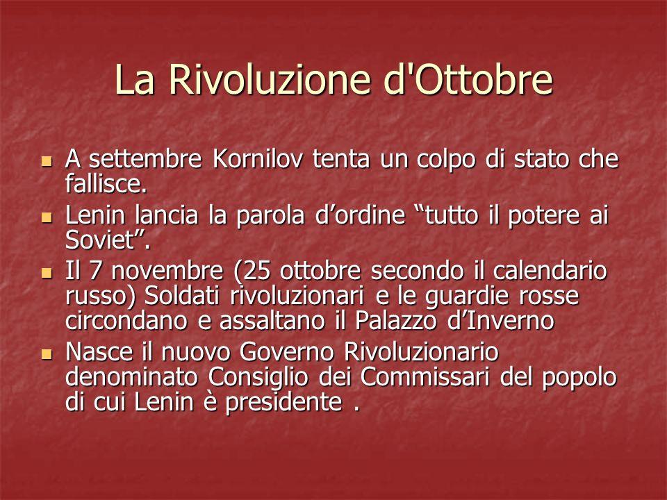 La Rivoluzione d Ottobre