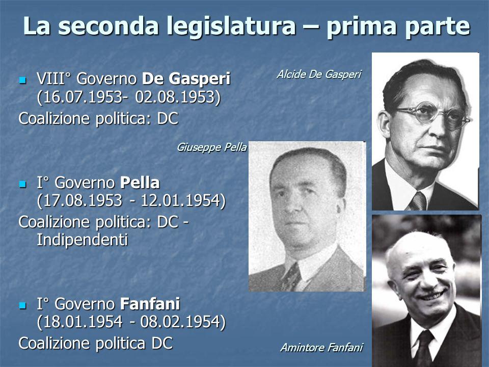 La seconda legislatura – prima parte