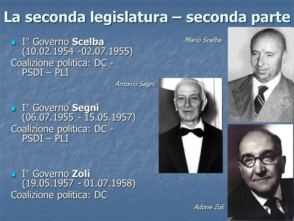 La seconda legislatura – seconda parte