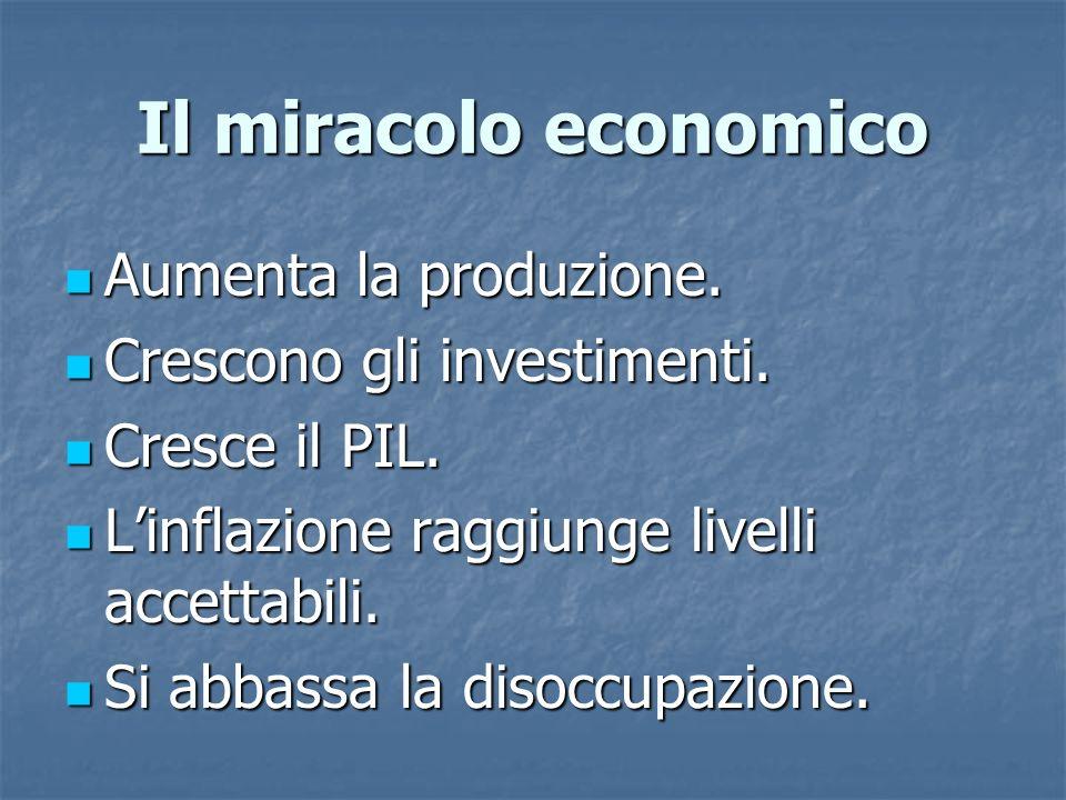 Il miracolo economico Aumenta la produzione.