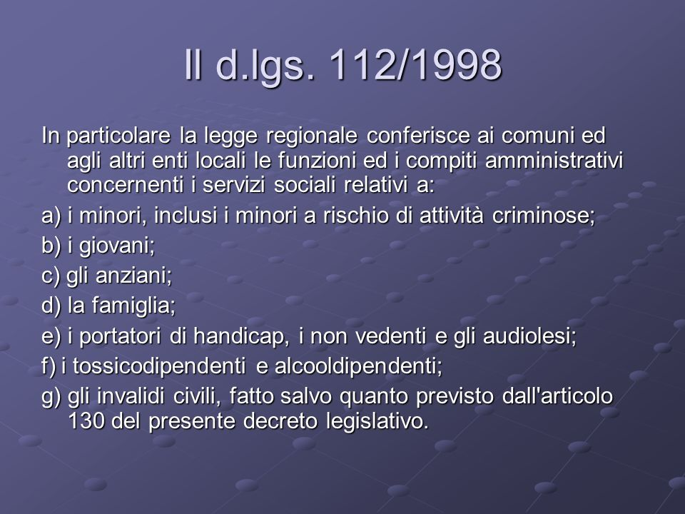 Il d.lgs. 112/1998