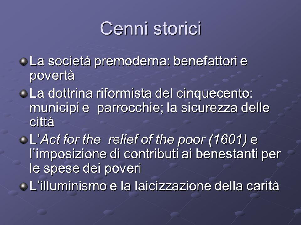 Cenni storici La società premoderna: benefattori e povertà