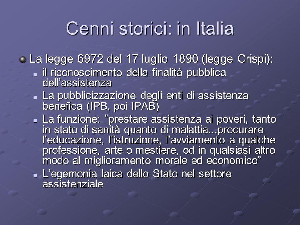 Cenni storici: in Italia