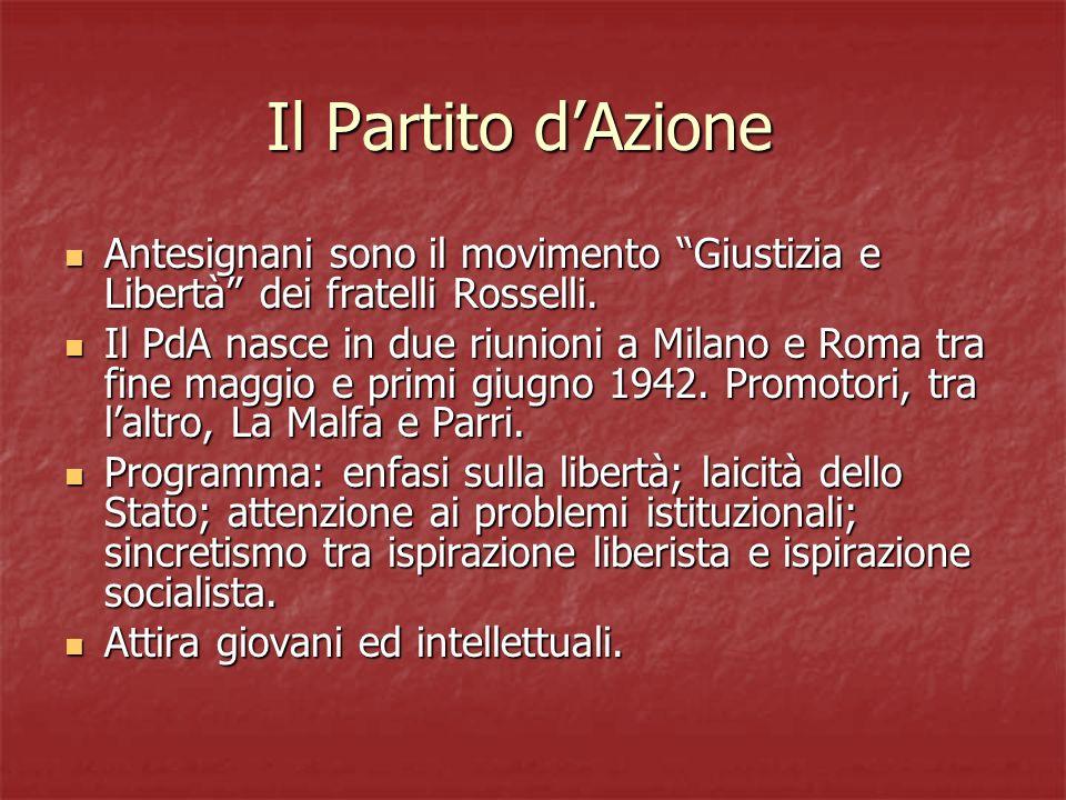 Il Partito d'Azione Antesignani sono il movimento Giustizia e Libertà dei fratelli Rosselli.