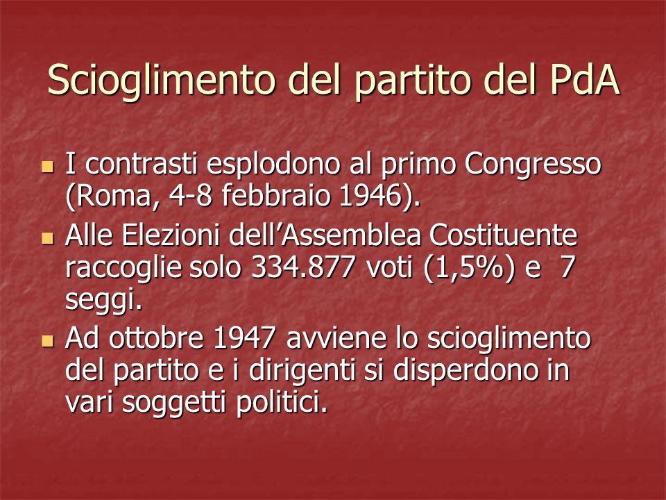 Scioglimento del partito del PdA
