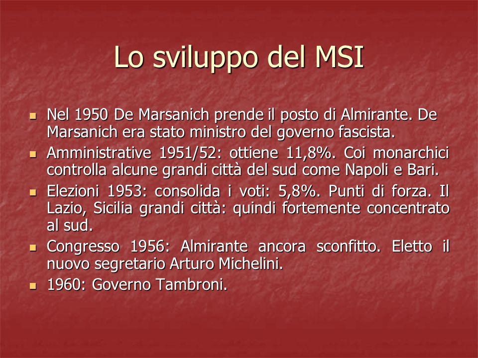 Lo sviluppo del MSI Nel 1950 De Marsanich prende il posto di Almirante. De Marsanich era stato ministro del governo fascista.