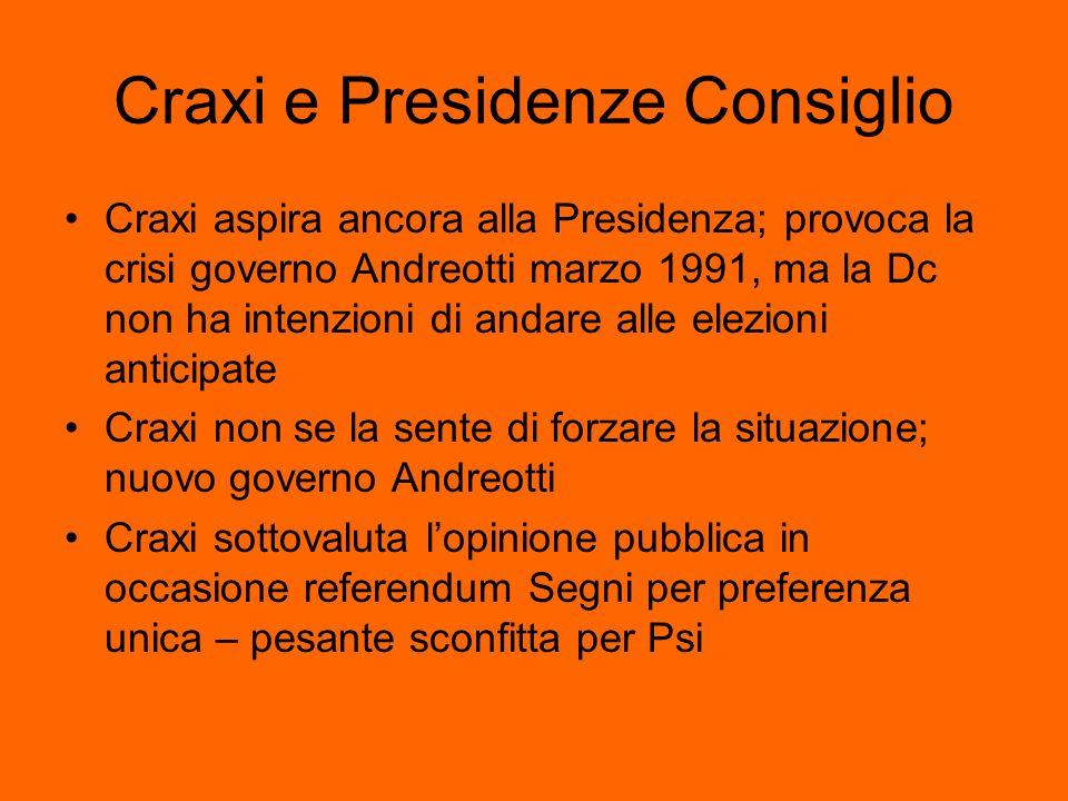 Craxi e Presidenze Consiglio