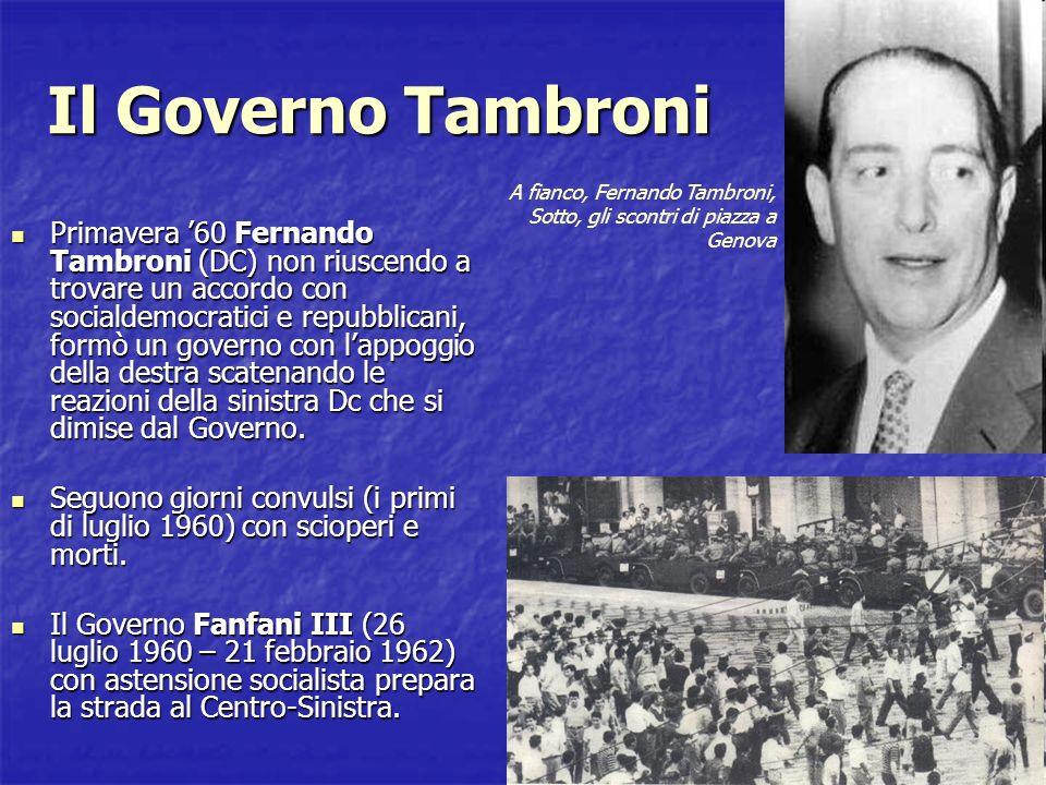 Il Governo Tambroni A fianco, Fernando Tambroni, Sotto, gli scontri di piazza a Genova.