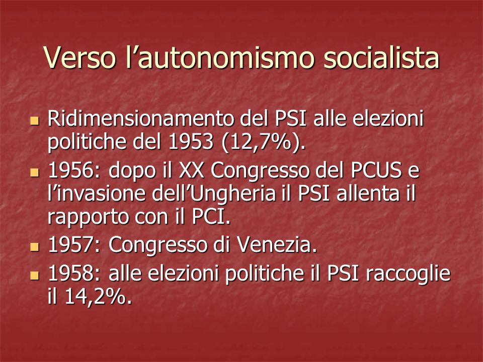 Verso l'autonomismo socialista