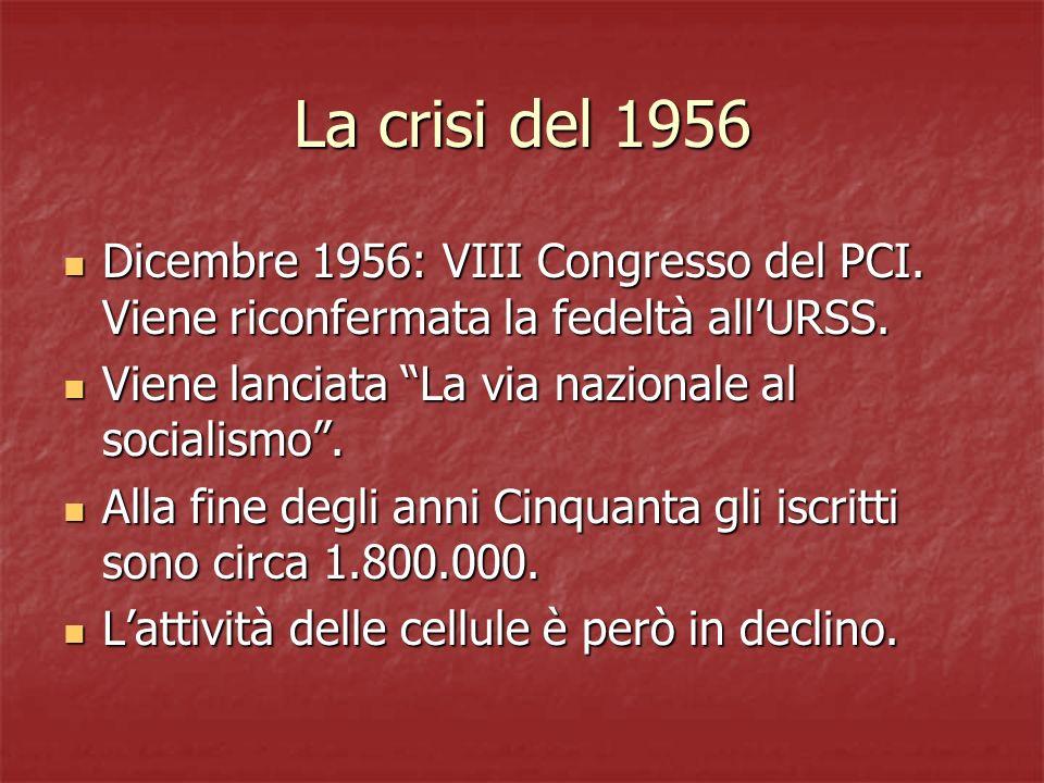 La crisi del 1956 Dicembre 1956: VIII Congresso del PCI. Viene riconfermata la fedeltà all'URSS. Viene lanciata La via nazionale al socialismo .