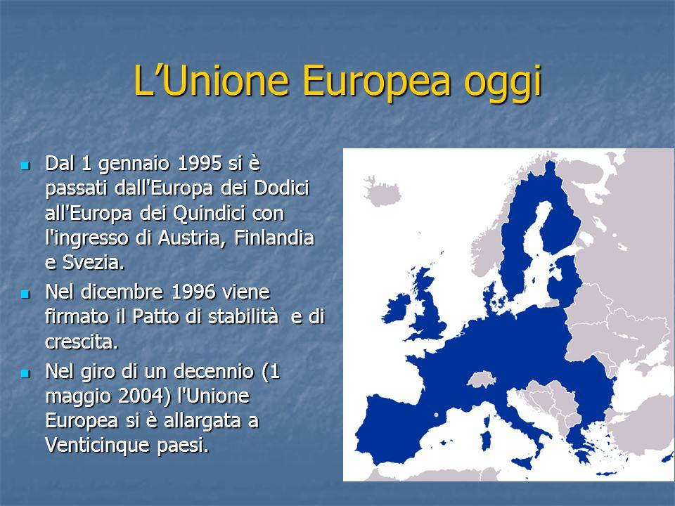 L'Unione Europea oggi Dal 1 gennaio 1995 si è passati dall Europa dei Dodici all Europa dei Quindici con l ingresso di Austria, Finlandia e Svezia.
