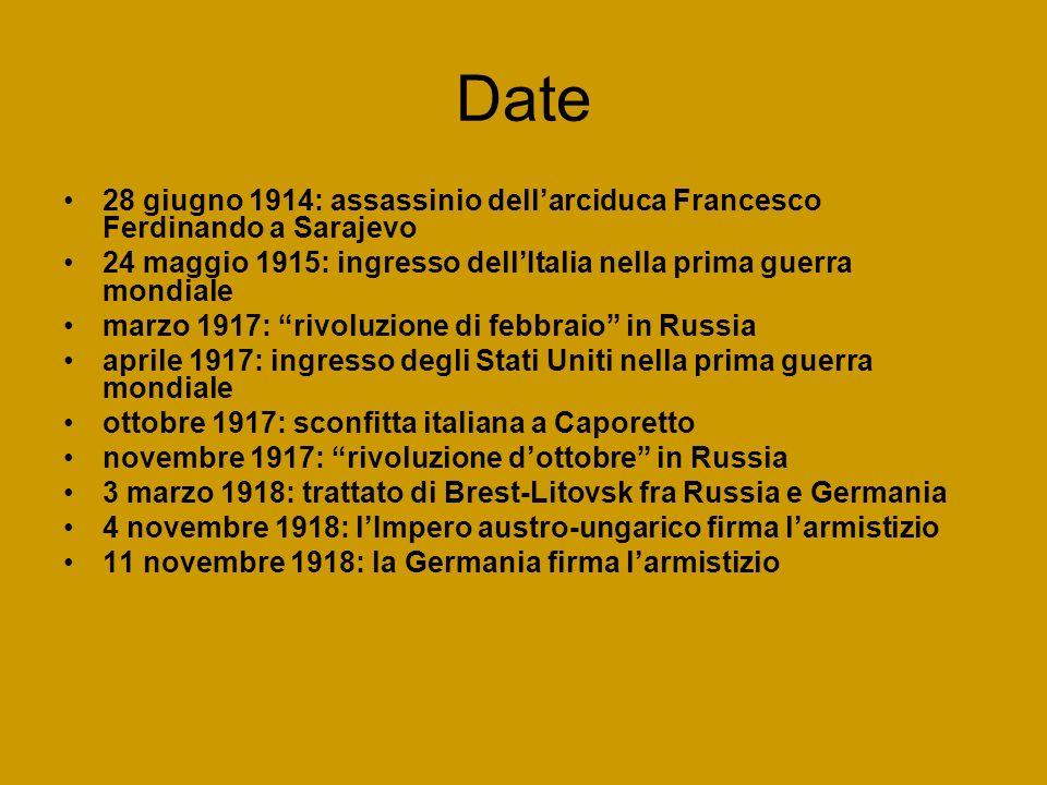 Date 28 giugno 1914: assassinio dell'arciduca Francesco Ferdinando a Sarajevo. 24 maggio 1915: ingresso dell'Italia nella prima guerra mondiale.